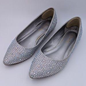 Silver rhinestone pointed ballet flats